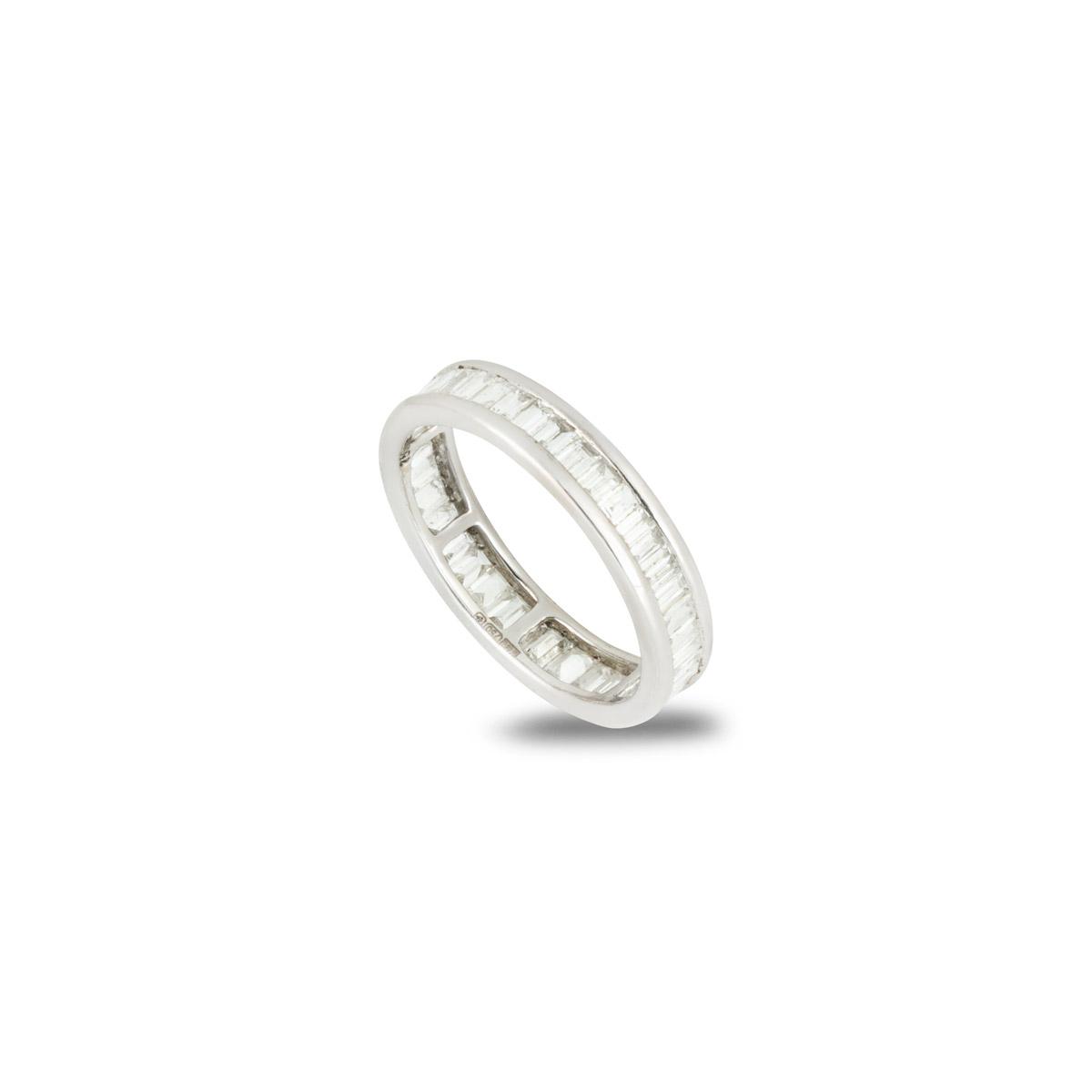 18k White Gold Baguette Cut Diamond Eternity Ring 1ct Total